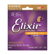 A picture of our Elixir 16027 Nanoweb Phosphor Bronze Custom Light Acoustic Guitar Strings