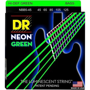 DR Neon Green Bass 5 String set 45-130